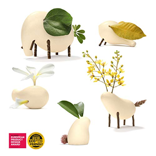 Taksa Toys Locomo Family Natural Color Edition (Set of 5) - The Animal Figures Wooden Toy for Educational Outdoor Play to Trigger Child's Imagination and The Love of Nature.