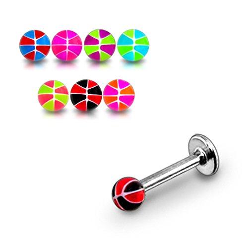 10 pièces Pack Mix couleur fantaisie UV boules de ballons de basket avec Labret de lèvre en acier chirurgical 316L 16Gauge(1.2mm)