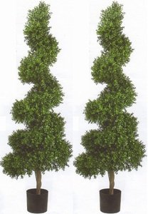 Two 6 Foot Tall 20 inch Wide Outdoor Artificial Boxwood Spiral Topiary Trees Potted Uv Rated Plants by Silk Tree Warehouse
