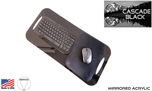SERFPAD TV Tray: Home (Clearance) - The Only Portable Keyboard Tray That Secures Your Best Small Keyboard & Mouse (Works with All Brands) Made in America from Flexible Acrylic in Cascade Black.