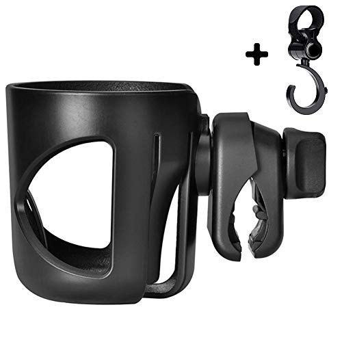 (Stroller Cup Holder with Hook, Universal Cup Holder for Pushchair, Bike, Wheelchair, 360 Degrees Rotation Anti-Slip and Adjustable)