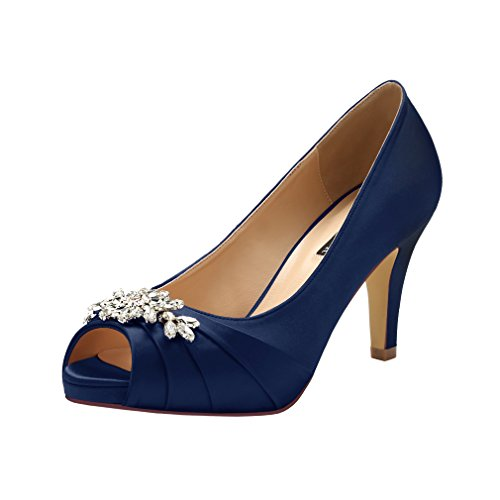 ERIJUNOR E0055 Peep Toe Mid Heels for Woman Rhinestones Satin Evening Prom Wedding Shoes Navy Size 10.5