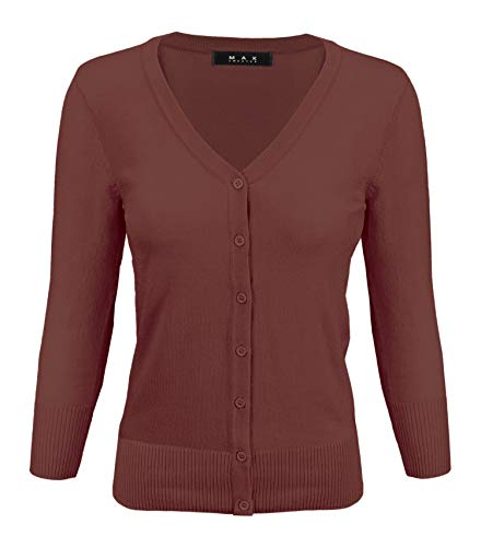 (Women's V-Neck Button Down Knit Cardigan Sweater Vintage Inspired CO078-RST-1X Rust)