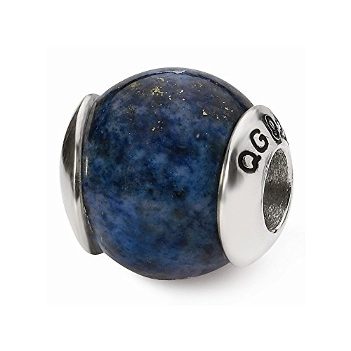 (PriceRock Sterling Silver Reflections Lapis Stone Bead)