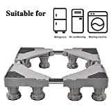 LUCKUP Multi-functional Movable Adjustable Base with 8 Strong Feet Size Adjustable Universal Mobile Case Roller Dolly for Dryer, Washing Machine and Refrigerator,Grey ...