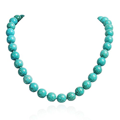 Turquoise Bead Collar - Jane Stone Blue Turquoise Beach Wedding Bridal Jewelry Round Beads Necklace (Fn1257-Turquoise)