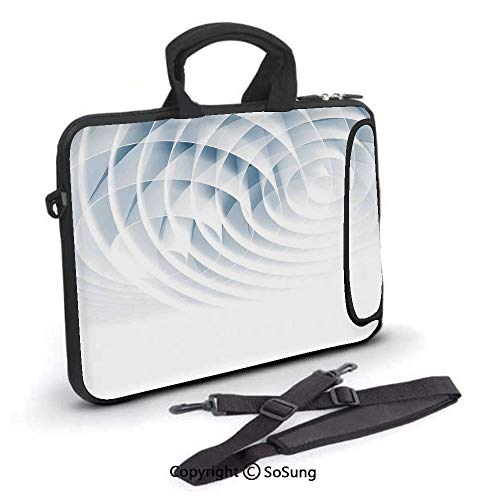 14 inch Laptop Case,Futuristic Digital Spirals with Dimensional Line Features Roll Vortex Print Neoprene Laptop Shoulder Bag Sleeve Case with Handle and Carrying & External Side Pocket,for Netbook/Mac