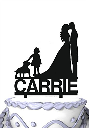 Meijiafei Personalized Wedding Cake Topper -Your Name and Bride and Groom Kiss with Girl Dog Family Anniversary Party Decoration