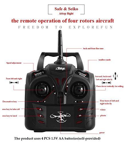 PRTQI Avion De Contrôle À À À Distance À Quatre Axes De L'antenne HD Avion Drone Aérien Modèle RC 360 ° Rouleau 6-Axes LED Gyro e27867