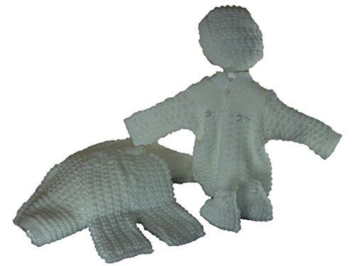 5 Pcs Knit Crochet Unisex Baby Set Blanket, Pants, Sweater, Bonnet, Booties, Size 0-3 Mo(white)