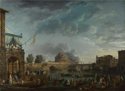Oil Painting 'Claude-Joseph Vernet - A Sporting Contest On The Tiber At Rome,1750' Printing On High Quality Polyster Canvas , 20x28 Inch / 51x70 Cm ,the Best Bedroom Decor And Home Artwork And Gifts Is This Amazing Art Decorative Canvas Prints