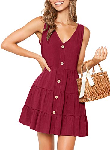 - MITILLY Women's Summer Sleeveless V Neck Button Down Casual Pocket Swing Short Dress Large Wine Red