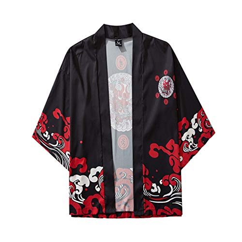 Mens Kimono Cardigan Japanese Fashion Style Vintage Casual Loose Lightweight Spring Fashion Blouse Tops