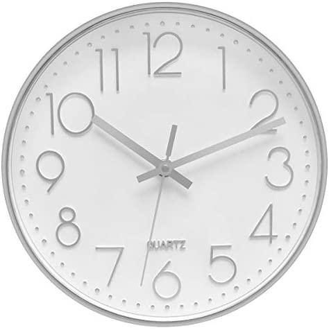 Foxtop Modern Wall Clock Decorative Silent Non Ticking Battery Operated Silver Clock For Office Home Living Room 12 Inch Arabic Numeral Glass Cover Kitchen Dining Amazon Com