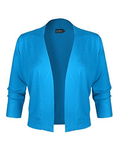 BASIC & BASIC+ BBP Women's Classic 3/4 Sleeve Open Front Cropped Bolero Cardigan