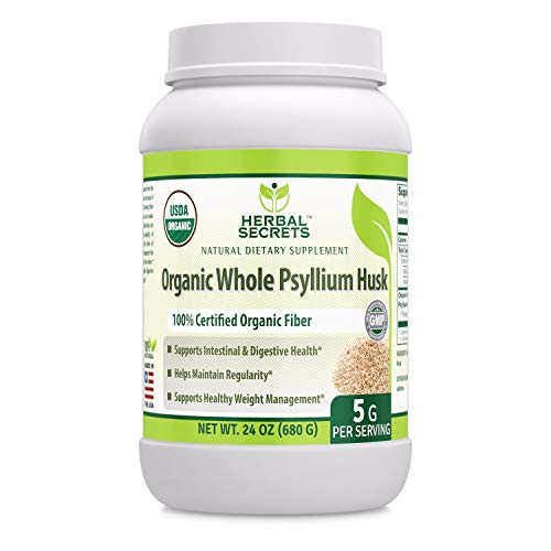 (Herbal Secrets USDA Certified Organic Whole Psyllium Husk 24 Oz (Non-GMO) (5 G per Serving) - Raw Vegan Kosher-Supports Intestinal & Digestive Health,Weight Management, Helps Maintain)