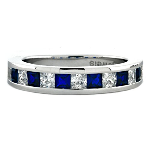 Olivia B: Princess-cut SImulated Sapphire & IOF CZ Semi-Eternity Wedding Band Silver, 3132A sz 7.0 ()