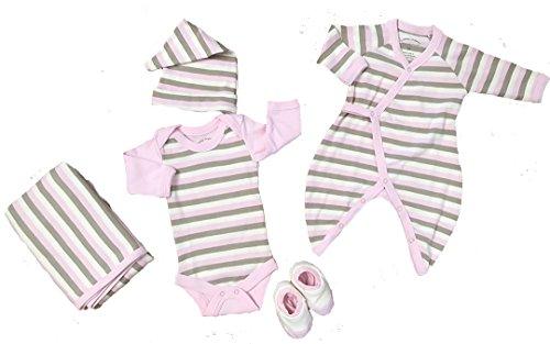 Ecobaby Organics Organic Cotton Blanket, Kimono, Long Sleeve Bodysuit (0-3m), Booties, Topee - Long Sleeve Ecobaby Organics