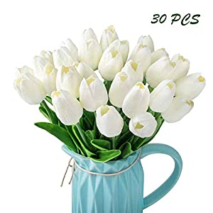 CEWOR 30 Heads Artificial Tulip Flowers Real Touch Tulips Fake Tulips Fake Flowers Artificial PU Plants for Home Bridal Wedding Party Festival Bar Decor 90