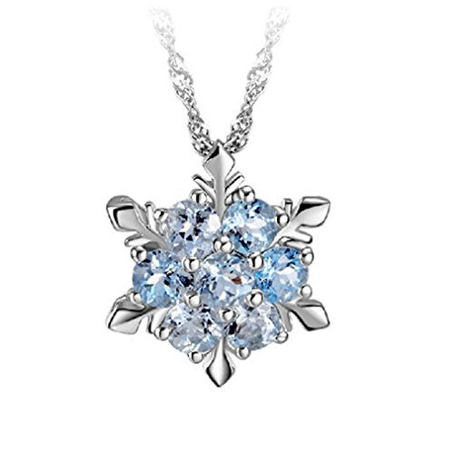 Easy Mother Daughter Halloween Costumes (Dolland Women Vintage Blue Crystal Snowflake Zircon Flower Silver Pendants Necklaces Jewelry,Dark Blue)
