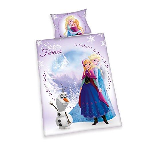 Herding 247969063412 Bettwäsche Disney's Eiskönigin, Kopfkissenbezug 40 x 60 cm mit Bettbezug 100 x 135 cm, 100% Baumwolle, Renforce