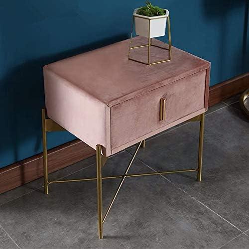 YD ベッドサイドテーブル、フランネルウッドフレーム大容量引き出しキャビネットベッドルームメタルブラケットスモールアパートメントロッカー、に適し:リビングルーム/ベッドルーム/書斎 (Color : Pink)