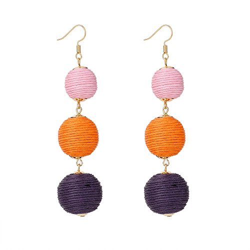 Animal Ball Drop Earring - Women's Thread Wrapped Triple Balls Dangle Earrings,Boho Long Lantern Ball Tassel Cute Drop Earrings (Pink)