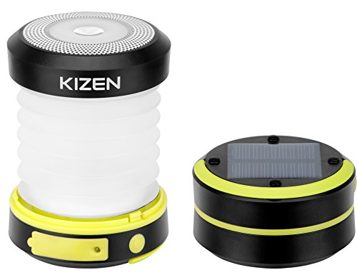Kizen Solar Powered LED Camping Lantern - Solar or USB Chargeable, Collapsible Space Saving Design, Emergency Power Bank, Flashlight, Water Resistant. For Outdoor Night Hiking Camping Tent Lawn Patio! -
