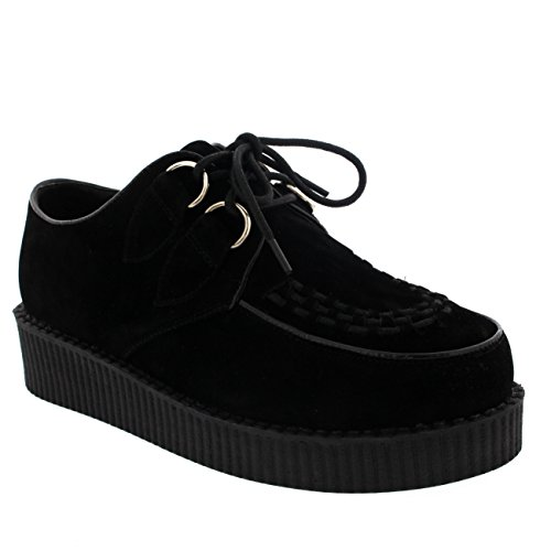 (Womens Vintage Gothic Punk Festival Flat Brothel Creepers Flatform Shoes - Black/Black - 7)