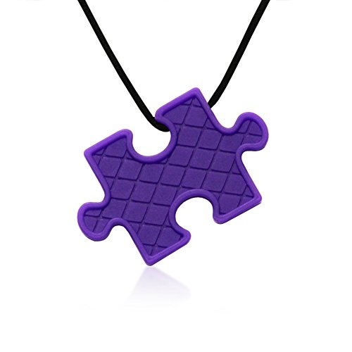 Puzzle Pendant Duo - Silicone Necklaces (Teething, Nursing, Sensory) (Fuchsia Pink/Plum Purple) by Siliconies (Image #3)