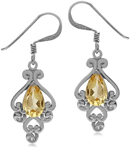 1.62ct. Natural Citrine 925 Sterling Silver Victorian Style Dangle Earrings