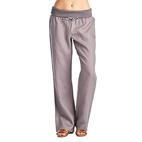 High Style Womens Full length fold over 100% linen pants with drawstring tie (003A, CharcoalGray, 12)