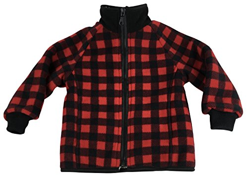 - N'Ice Little Boys and Baby Sherpa Lined Buffalo Plaid Fleece Warm Jacket (5-6 Years, Red Buffalo Plaid)