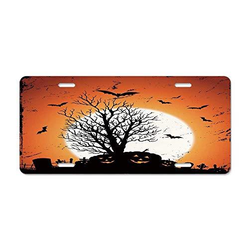Blingreddiamond Vintage Halloween,Grunge Halloween Image with Eerie Atmosphere Graveyard Bats Pumpkins,Orange Black License Plate Cover Aluminum Auto Car Tag 4 Holes (12 X 6 in) ()