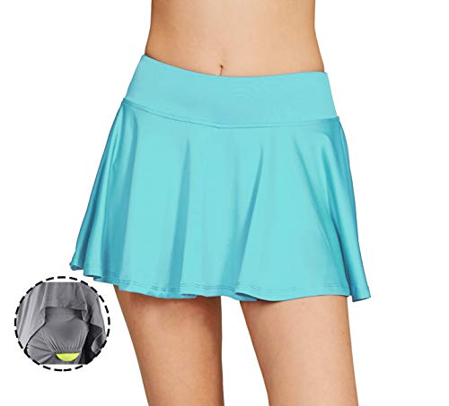 Cityoung Women's Basic Stretchy Pleated Athletic Skirt Tennis Quick Dry Active Skorts with Shorts Inner XL Light Blue (Skirt Pleated Detail)