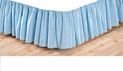 Rajlinen Ruffle/Gathering Bed Skirt Genuine Poly Cotton Bed Wrap with Platform (+15 Inch Drop)- Easy Fit Gathered Style 3 Sided Coverage (Queen, Light (Bedskirt Light)