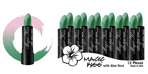 Magic Kiss Lipstick Set Aloe Vera Color Changing Green 12PK MADE IN USA ... (Best Lipstick Brand In Usa)