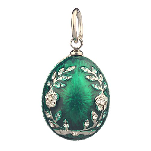 danila-souvenirs Russian Faberge Style Egg Pendant/Charm with Crystals 0.9'' Green ()