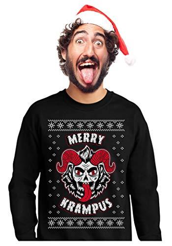 Tstars - Merry Krampus Ugly Christmas Naughty Demon Sweatshirt Medium Black -