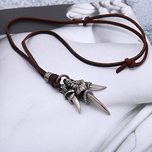 Yean Dragon Claw Pendant Necklace Gothic Evil Genuine Leather Vintage Necklaces Adjustable for Men