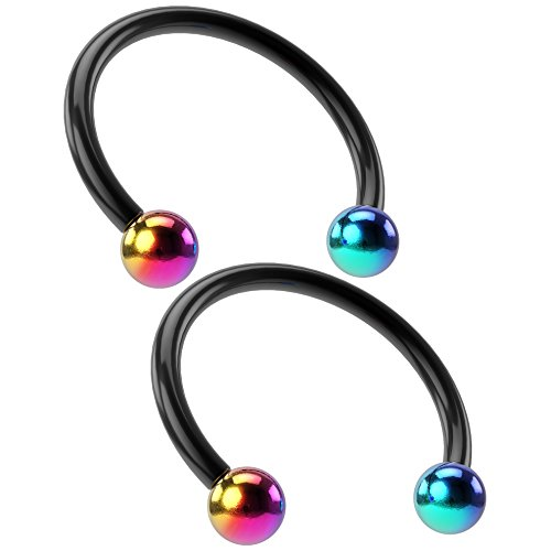 2pcs 16g Black Circular Barbell Horseshoe Earrings Nose Septum Eyebrow Rings 3mm Rainbow Balls 12mm Bioplast Circular Barbell