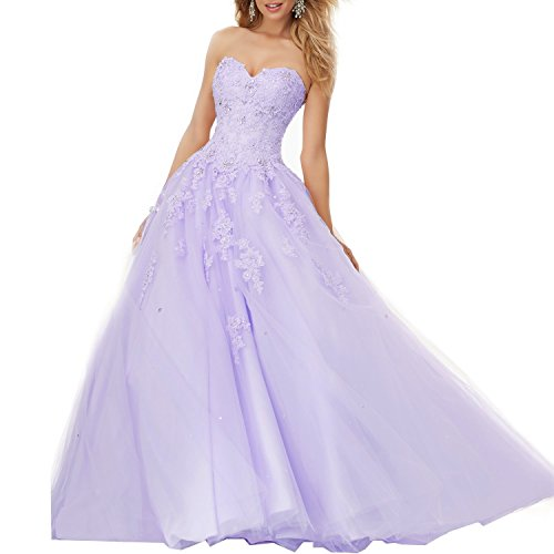 Elley Women's Sweetheart Lace Applique Sweep Train Sweet 16 Backless Ball Gown Quinceanera Prom Pageant Dress Light Purple US12