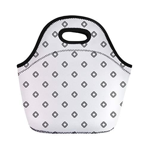 Semtomn Lunch Bags Black Bezels Rhombuses Contours Pattern Diamonds Checks Ethnic Mosaic Neoprene Lunch Bag Lunchbox Tote Bag Portable Picnic Bag Cooler Bag