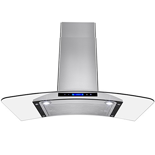 (AKDY 36 in. Convertible Kitchen Wall Mount Range Hood in Stainless Steel with Tempered Glass and Touch Controls)