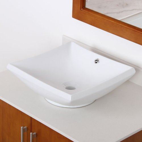 ELITE Bathroom Square White Ceramic Porcelain Vessel Sink for Faucet,Vanity