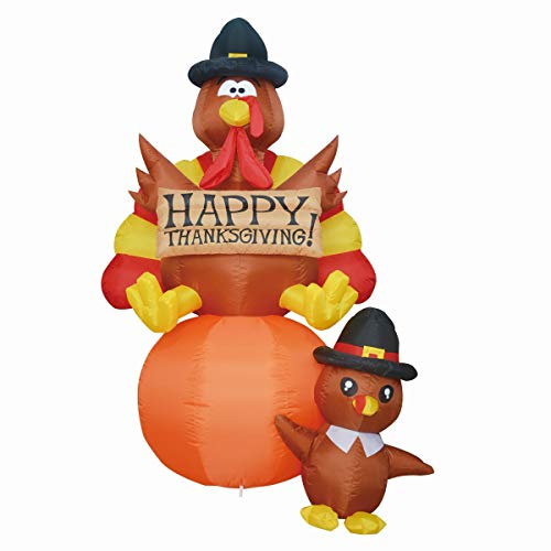 GOOSH Thanksgiving Day Masters Inflatables Turkeys Claus Holding a Gift Present LED Lights Indoor Outdoor Yard Lawn Decoration Holiday Blow Up Turkey Party Display