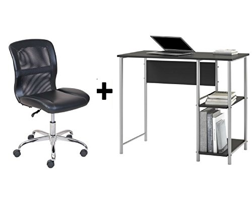 Mainstays Basic Student Black Oak Desk, Bundle Set with Black/Silver Vinyl Chair by Mainstay