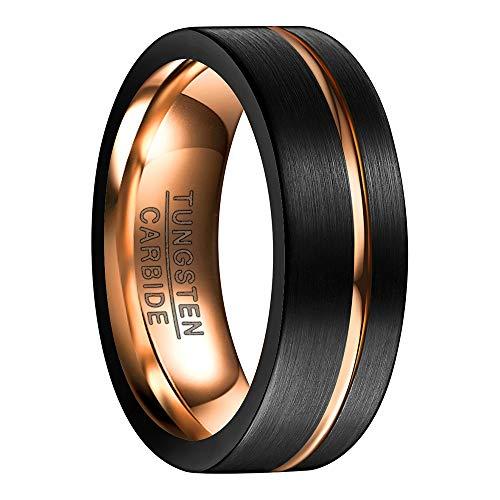 Ring Wolfram Unisex schwarz/rosegold 8mm Nuncad, Aufarbeit durch Mattierung und rosegoldenem Einschnitt, perfekt für Hochzeit, Verlobung und Veranstaltung, Größe 49 bis 67