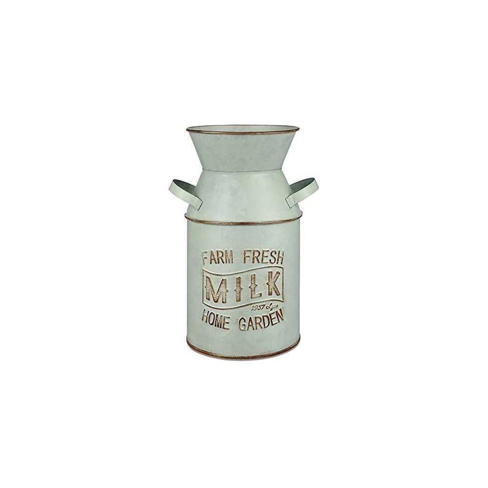 Joqixon Farmhouse Metal Rustic Vase Galvanized Finish Milk Can Decorative Shabby Chic Vase Handle Design Farmhouse…