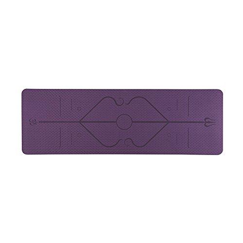 WOLI 6mm TPE Tapis de yoga antidérapant Tapis de yoga à haute densité avec ligne de position, pour l'exercice, yoga et pilates